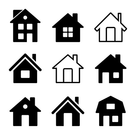 black and white image: House Icons Set on White Background. Stock Photo