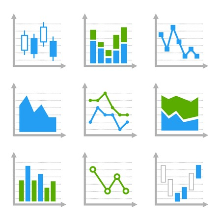 Business Infographic Colorful Charts and Diagrams Set. Vector Illustration. illustration