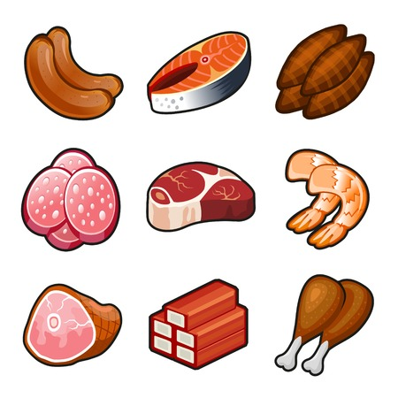 Meat food icons set on white background. Vector. photo
