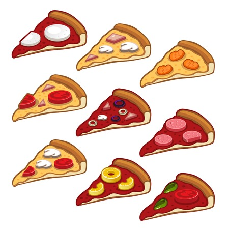 Different Pizza set on white background. Vector. photo