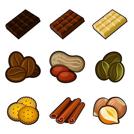Chocolate and coffee icon set on white background. Vector. photo