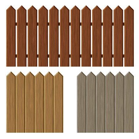 front or back yard: Fence with different wooden texture pattern. Vector. Stock Photo