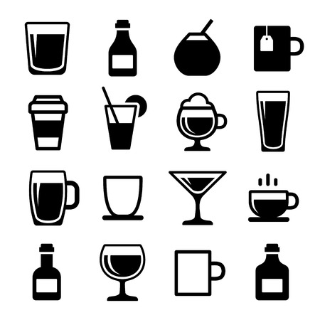beer tap: Drink and alcohol beverage icons set. Vector.
