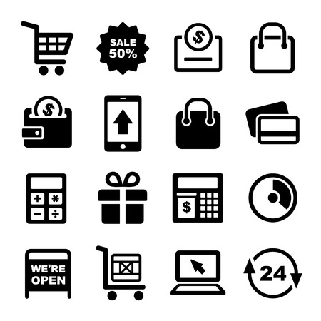 cash dispense: Shopping and Supermarket Services Icons Set. Vector. Stock Photo