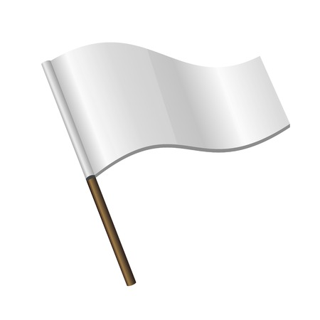 surrender: White Curl Flag Icon on white background.