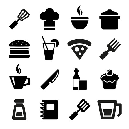kitchen tools: Kitchen food and tools icons set. Stock Photo