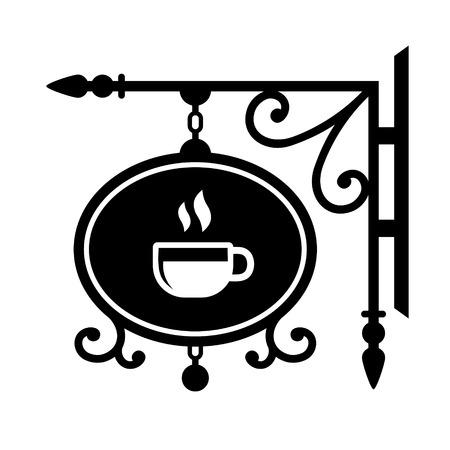 Ancient street signboard coffee house. Vector Illustration illustration