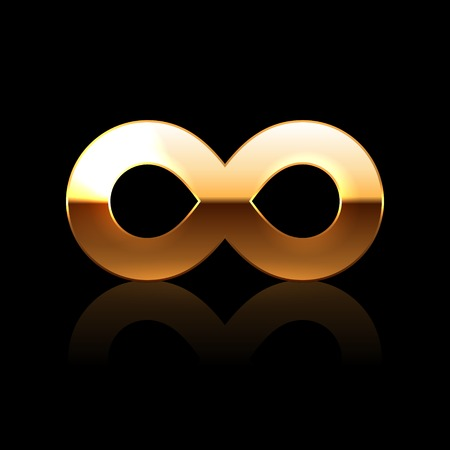 Golden Infinity Symbol on Black Background. Vector photo