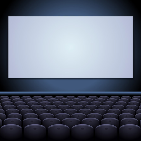 cinema screen: Cinema theatre with screen and seats. Stock Photo