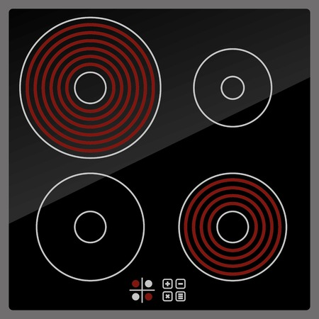 Kitchen Electric hob with ceramic surface and touch control panel. Vector photo