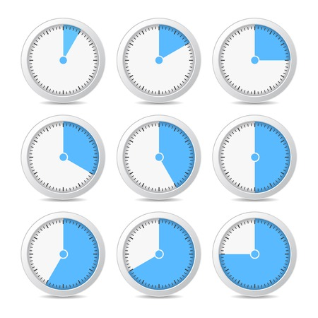 Blue Timer Icons on White Background, Vector photo