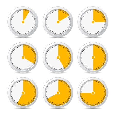 Orange Timer Icons on White Background, Vector photo