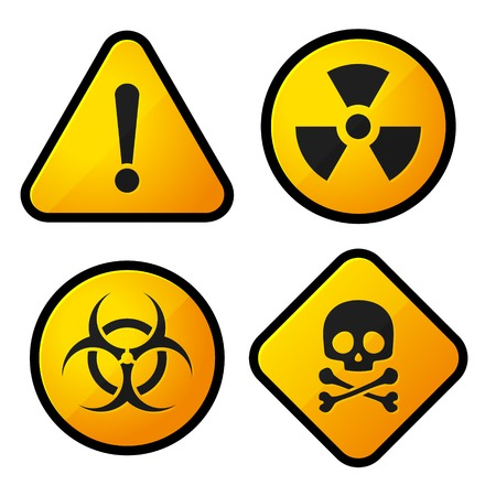 Danger Yellow Sign Icons Set. Vector Illustration illustration
