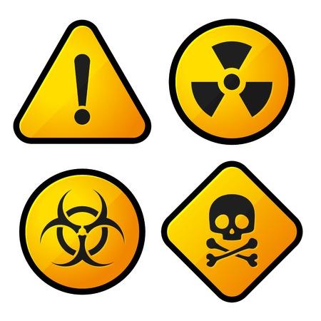 danger of radiation: Danger Yellow Sign Icons Set.