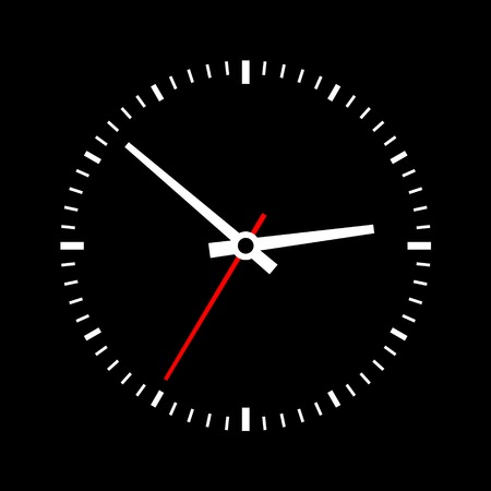 Clock dial on a black background. Vector illustration illustration
