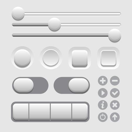 User Interface Elements Set on Light Background.