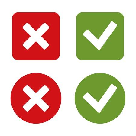 Compruebe Marcar pegatinas y los botones. El rojo y el verde. Ilustración vectorial Foto de archivo