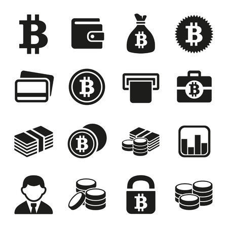 cash money: Bitcoin crypto money icons set.