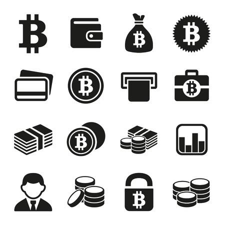 stack of cash: Bitcoin crypto money icons set.
