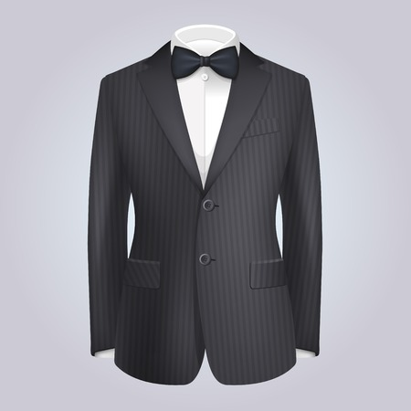 tailored: Male Clothing Stiped Dark Suit with Bow Tie.