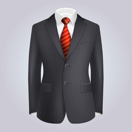 Male Clothing Dark Striped Suit with Red Tie. Vector Illustration illustration