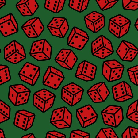 Red Gambling Dices Seamless Pattern on Green Background. Vector Illustration illustration