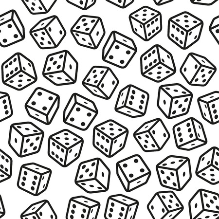 Gambling Dices Seamless Pattern on White Background. Vector Illustration illustration
