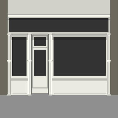 awnings windows: Shopfront with Black Windows. Light Store Facade.