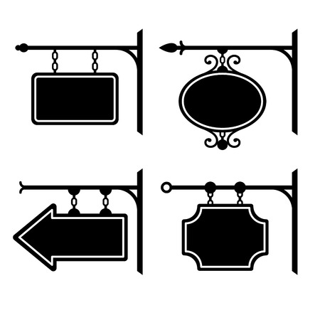 Set of retro graphic forged signboards. Vector Illustration illustration