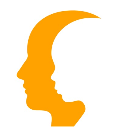 Man and Woman Face Profile Silhouette. Vector Illustration illustration