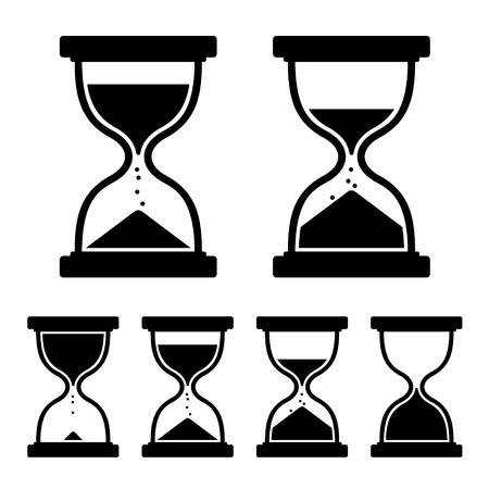 reloj de arena: Iconos de reloj de arena de cristal Set. Ilustración vectorial Foto de archivo
