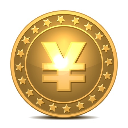 Gold coin with yen sign isolated on white background