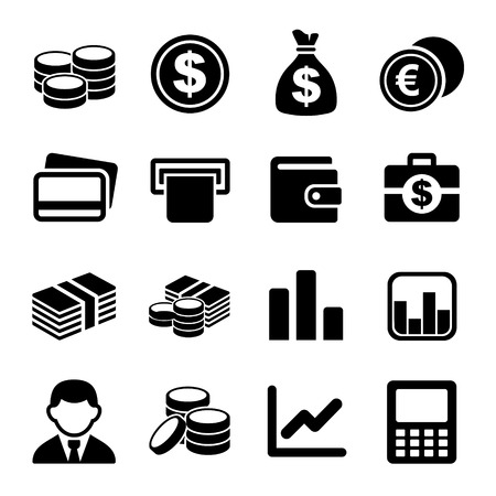 bag of money: Money and coin icon set. Vector illustration. Stock Photo