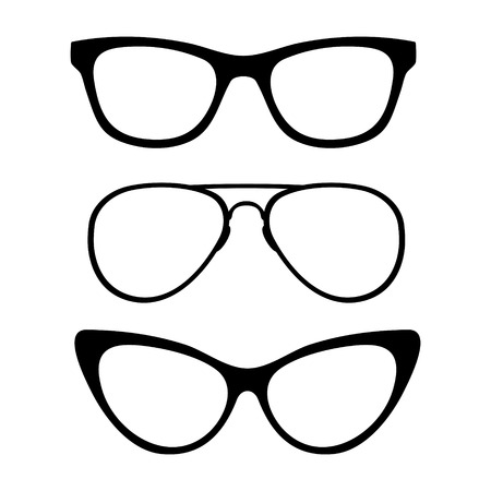 protective spectacles: Set of classic glasses, isolated on white background