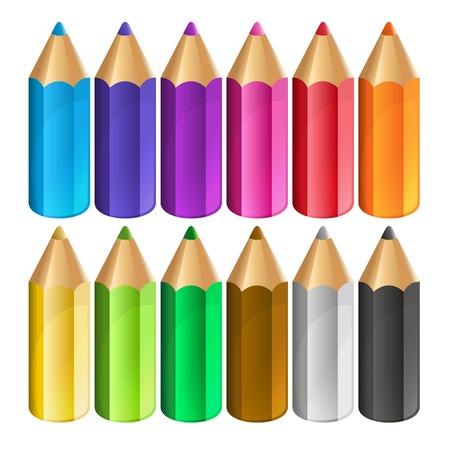 pencil point: Colour pencils isolated on white background. Vector