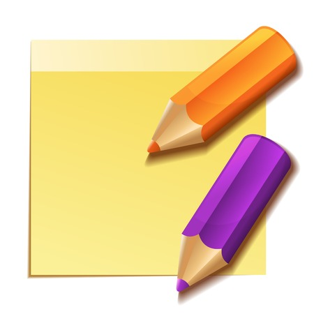 Realistic yellow stick note and two color pencils. Vector photo