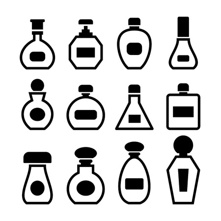 Perfume bottles icon set on white background. Vector. photo