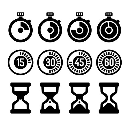 watch glass: Vector isolated timers and clocks icons set