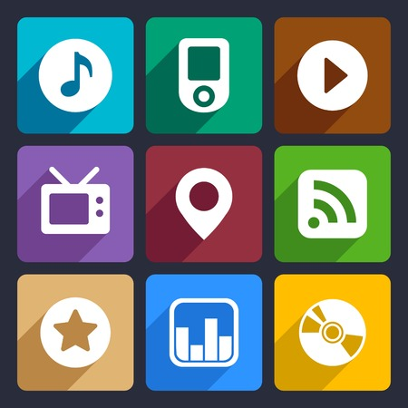 fx: Multimedia flat icons set  for Web and Mobile Applications Stock Photo