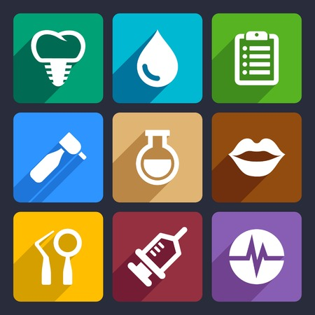 premolar: Dental flat icons set for Web and Mobile Applications Stock Photo