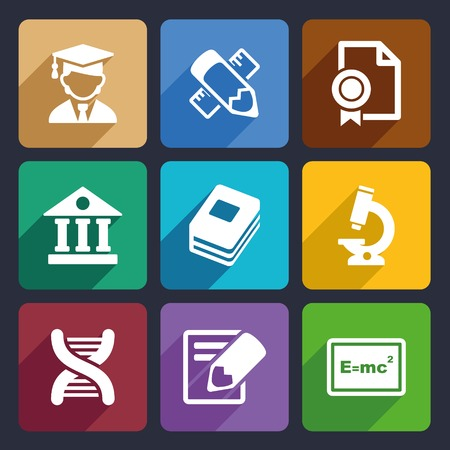 wit: School and education icons set for Web and Mobile Applications Stock Photo