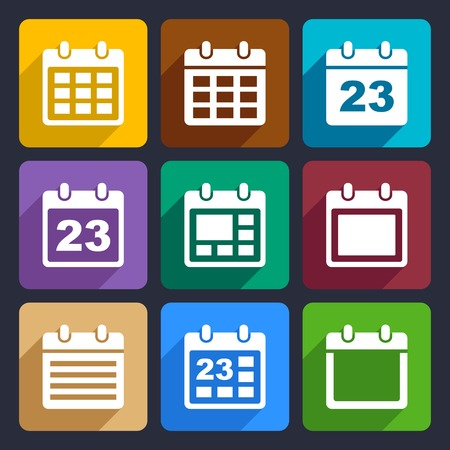 Day calendar elements icons set for Web and Mobile Applications photo