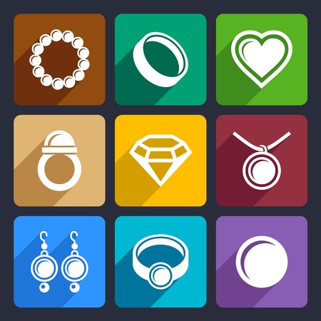 Pearl Jewelry luxury flat Icons Set for Web and Mobile Applications photo