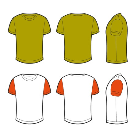 sleeved: Front, back and side views of blank t-shirt