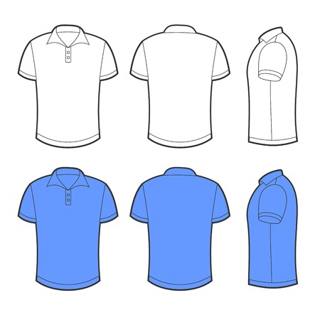 Front, back and side views of white and blue blank polo