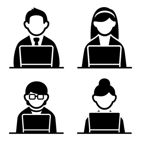 computer programmer: Programmer man and woman icons set. Vector illustration. Stock Photo