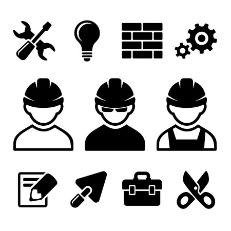 Industrial worker and tools icons set. Vector illustration. illustration