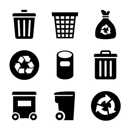 black plastic garbage bag: Garbage container and basket Icons set. Vector illustration.