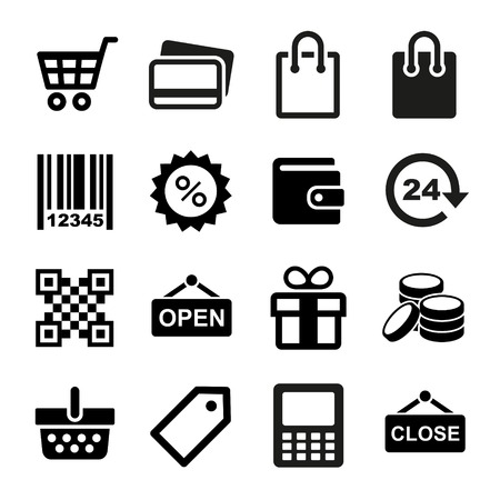 food sales: Set pictogram supermarket services, Shopping Icons