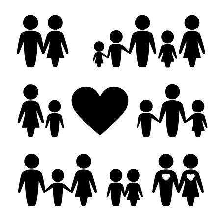 mujer hombre: Iconos Personas familia conjunto. Mujer, Hombre y Ni�os Foto de archivo